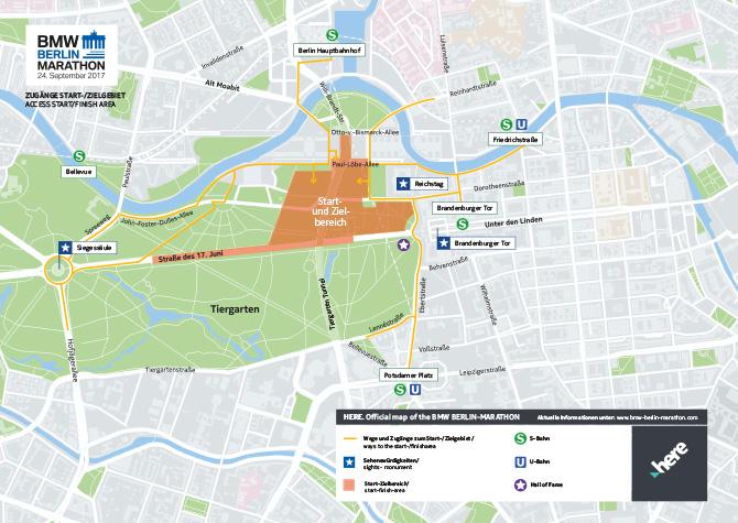 Пункты пропуска в зону старта/финиша берлинского марафона 2018 и ближайшие станции общественного транспорта