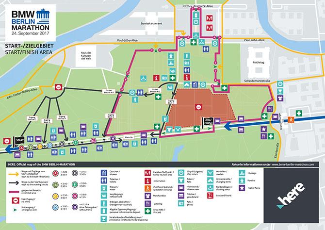 Схема зоны старта/финиша марафона в Берлине 2018