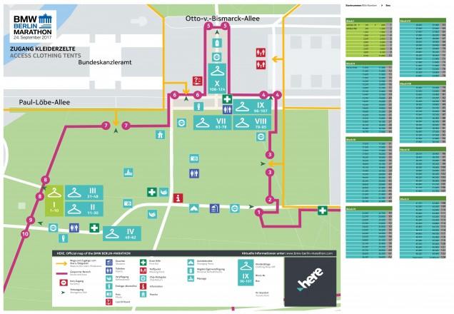 Схема расположения камер хранения, туалетов и мест для переодевания на марафоне в Берлине 2018