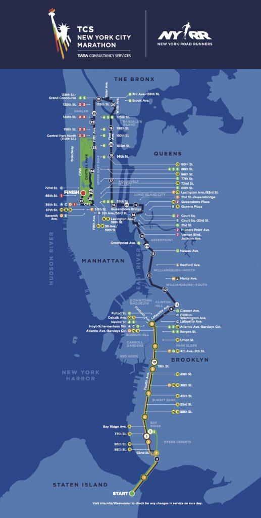 Маршрут марафона в Нью-Йорке 2019