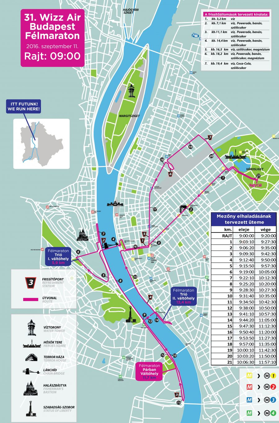 Трасса полумарафона в Будапеште