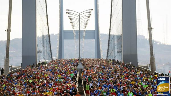 Istanbul marathon crosses bosphorus bridge