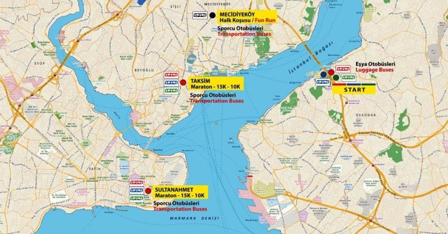 Места отправления автобусов к зоне старта стамбульского марафона