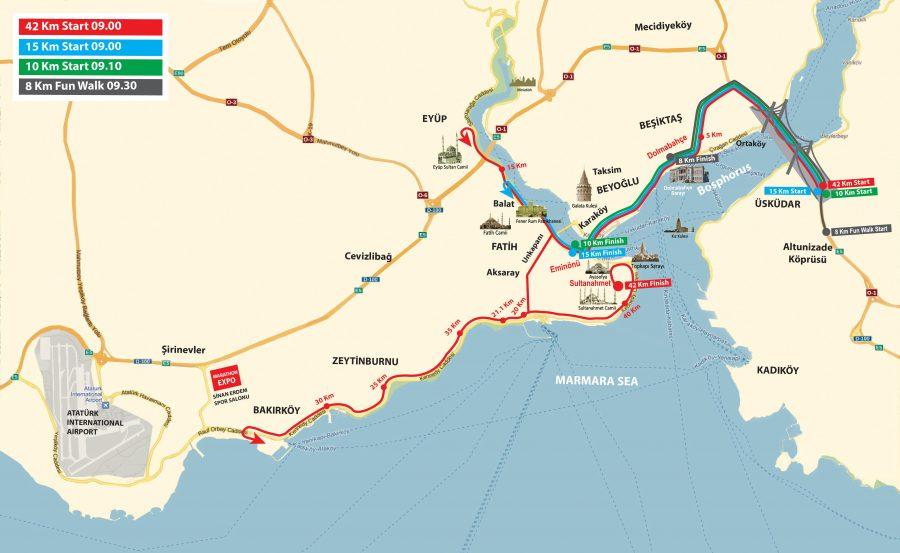Istanbul Marathon course map