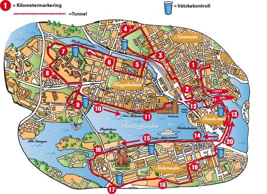 Маршрут полумарафона в Стокгольме проложен через центр города. Старт и финиш расположены у королевского дворца
