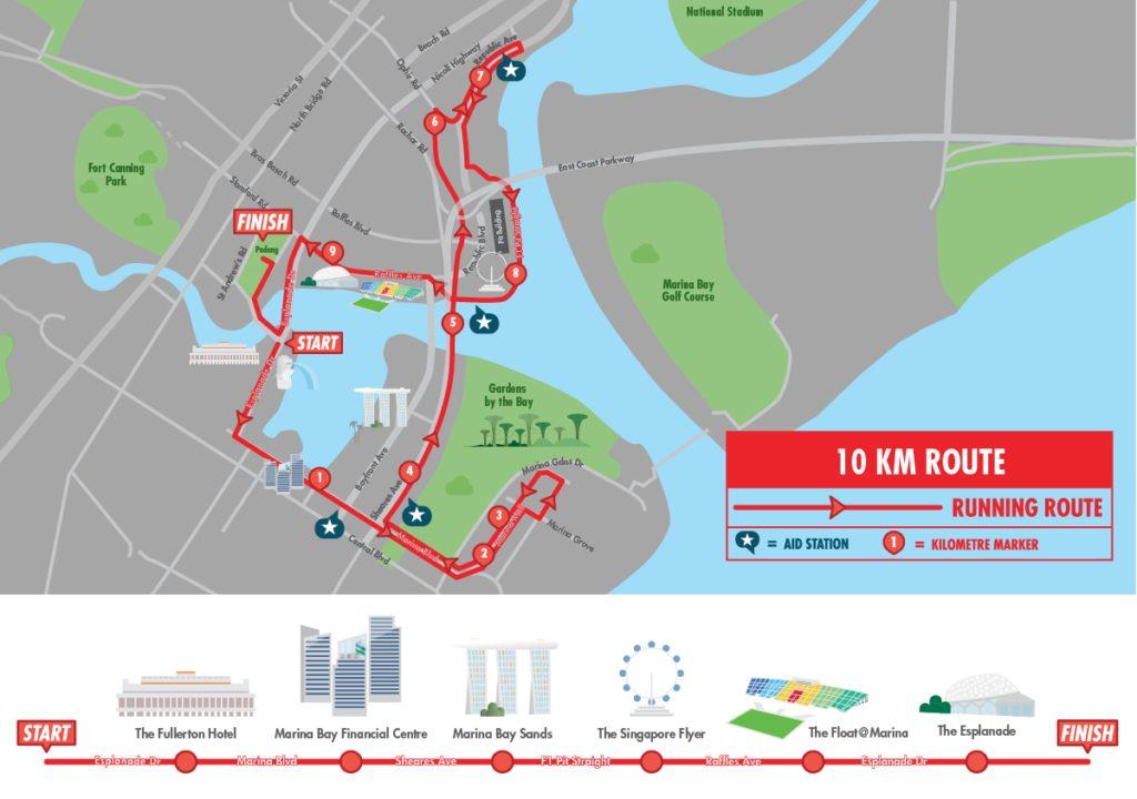 Трасса забега на 10 км в Сингапуре 2017