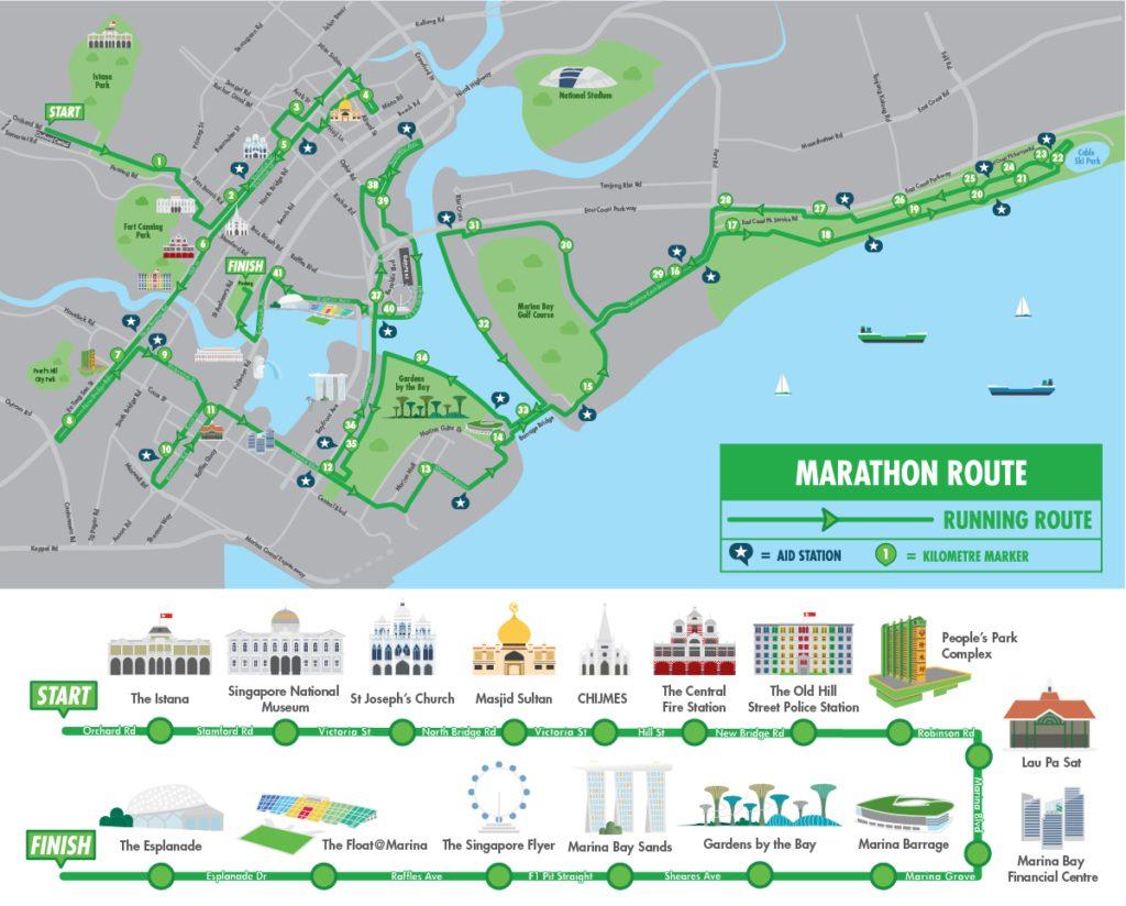 Трасса марафона в Сингапуре 2017