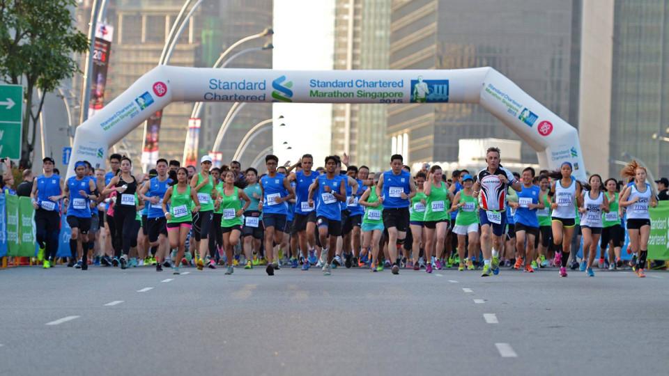 Старт марафона в Сингапуре в 2016