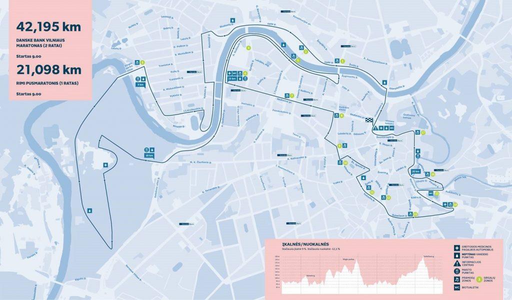 Трасса забега на полумарафонскую, 10 км дистанцию в Вильнюсе 2017. Дистанция марафона составляет два круга по 21,1 км