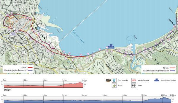 Трасса забегов в Таллине на 10 км и полумарафон. Забег на марафонскую дистанцию составляет два круга
