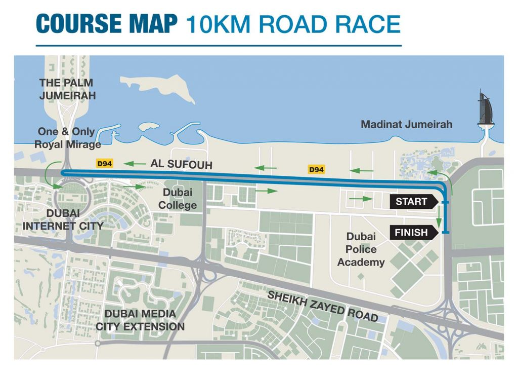 Трасса забега на 10 км в Дубае