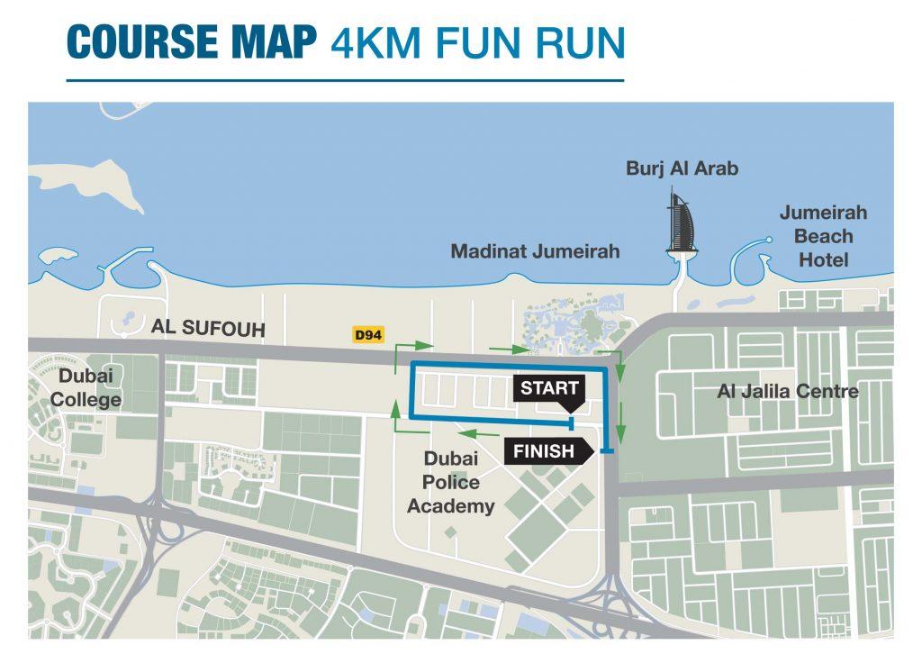 Трасса забега на 4 км в Дубае