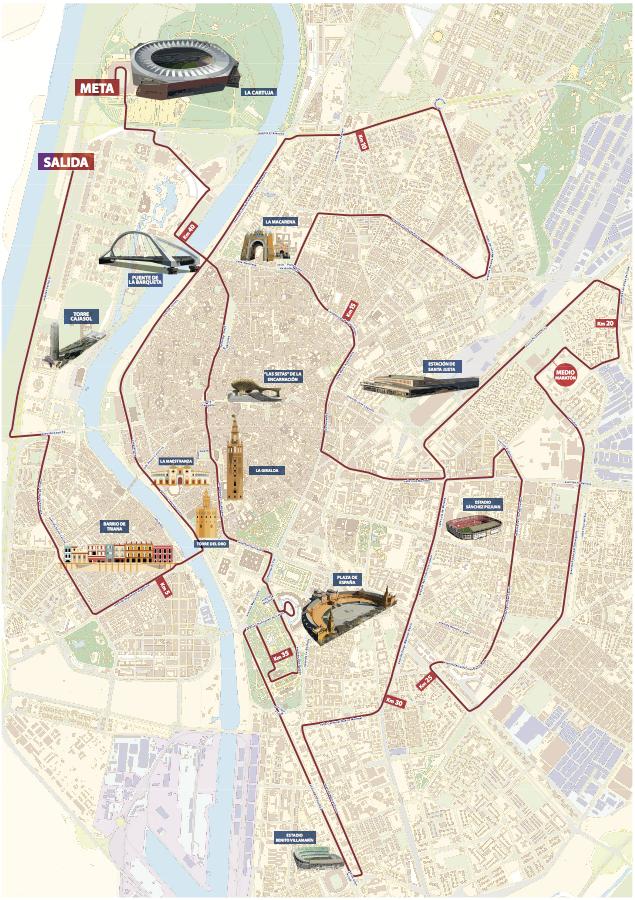 Трасса марафона в Севилье 2018 с наложением достопримечательностей города
