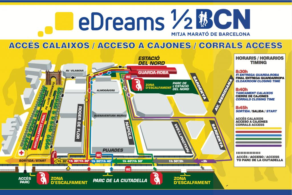 Выход к стартовым кластерам на полумарафоне в Барселоне 2018
