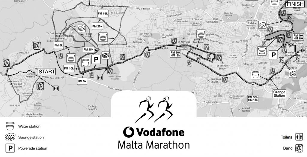 Маршруты марафона и полумарафона на Мальте 2018