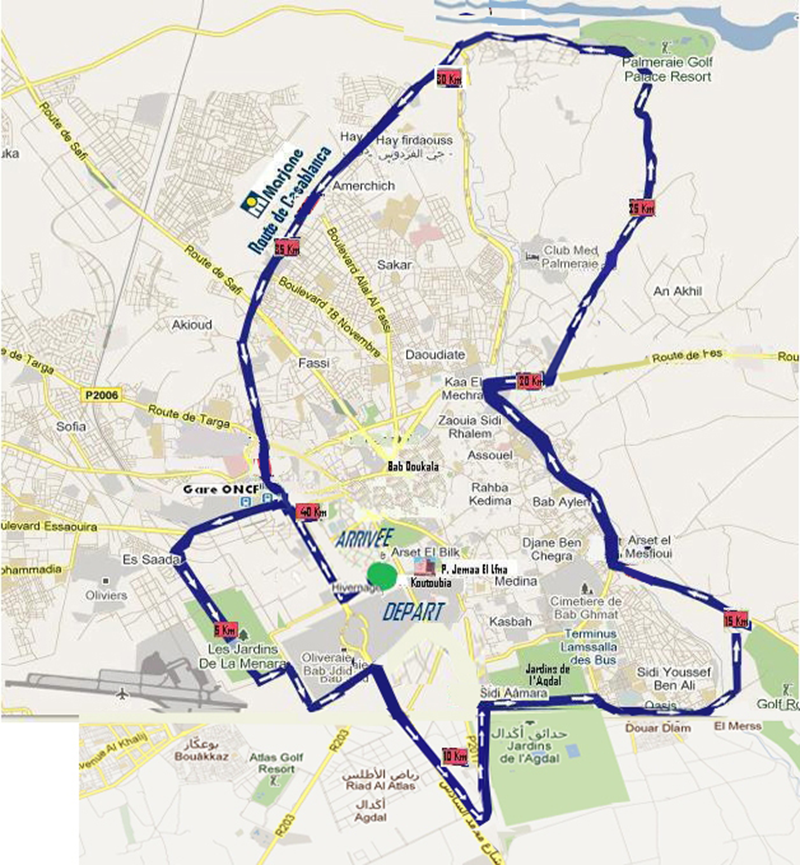 Маршрут марафона в Марракеше 2018