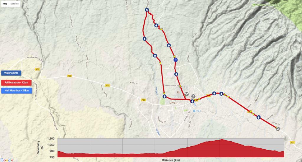Маршрут марафона у Килиманджаро в 2018