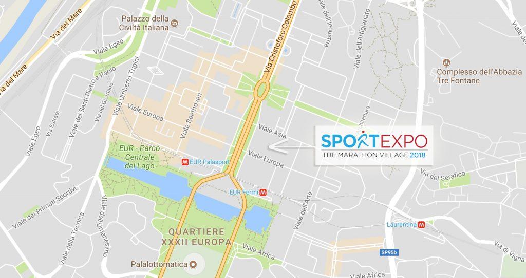 Расположение ЭКСПО Римского марафона 2018 на карте