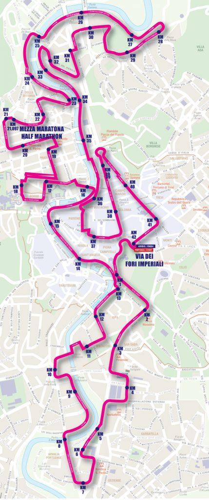 Трасса марафона в Риме 2018