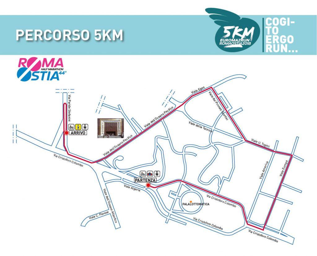 Маршрут 5 км забега в Риме в марте 2018 г