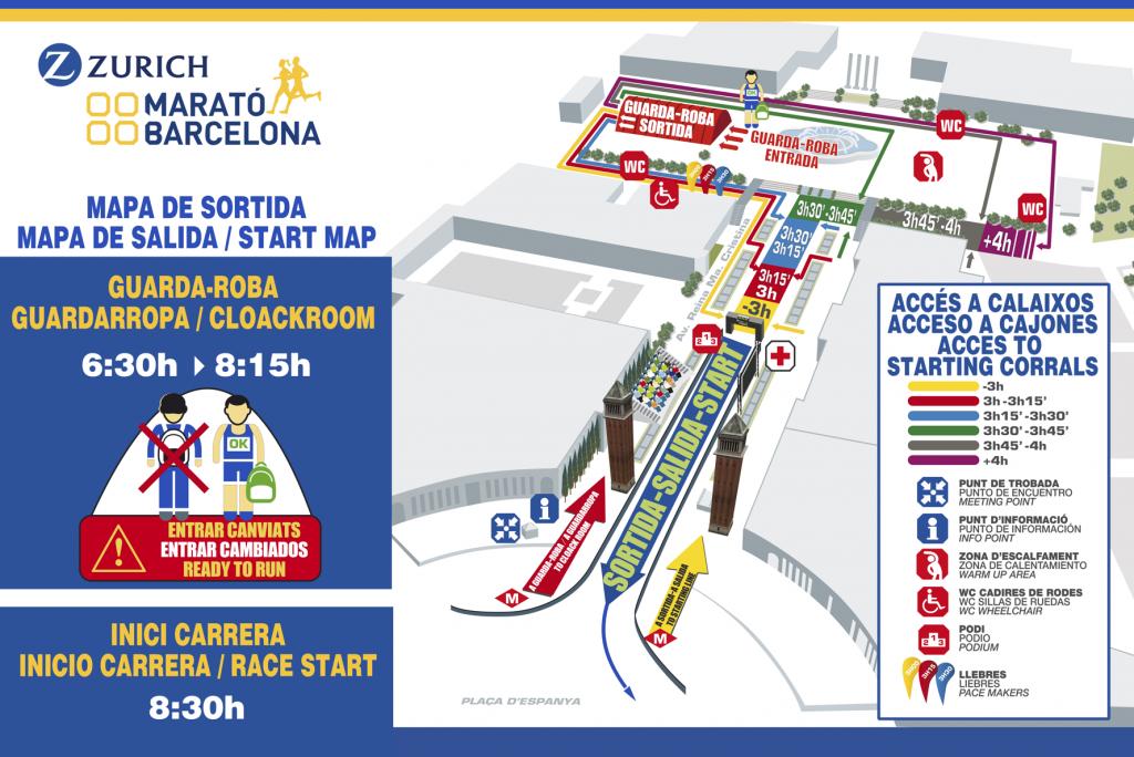 Стартовая зона и деление на стартовые кластеры на марафоне в Барселоне 2018