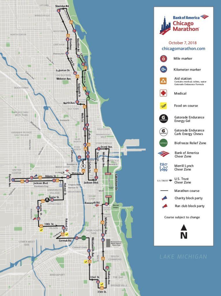 Маршрут марафона в Чикаго 2018