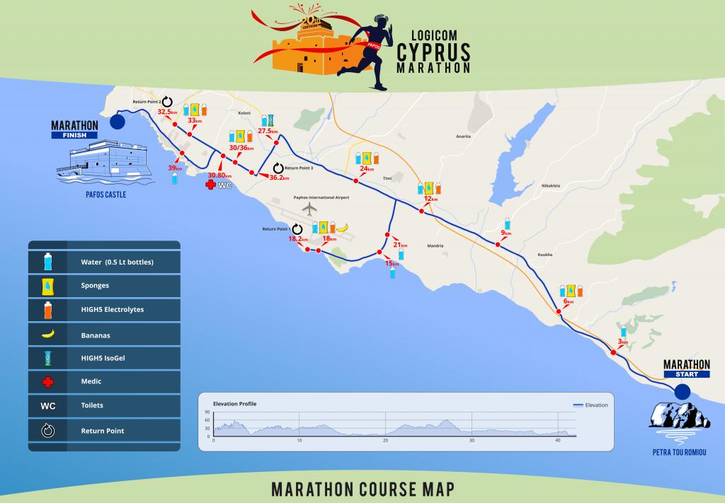 Маршрут забега на марафонскую дистанцию на Кипре 2018