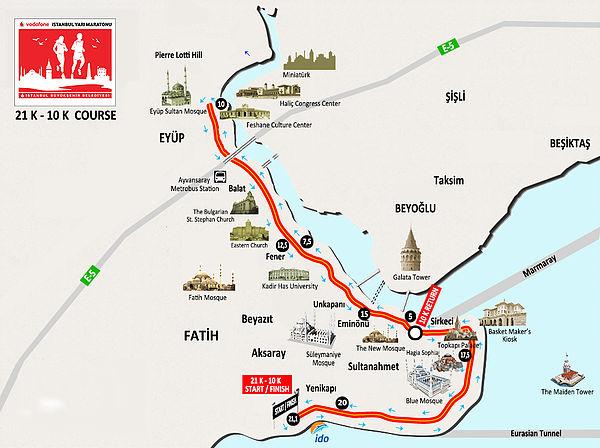 Трасса полумарафона в Стамбуле с наложенными достопримечательностями неподалеку от маршрута