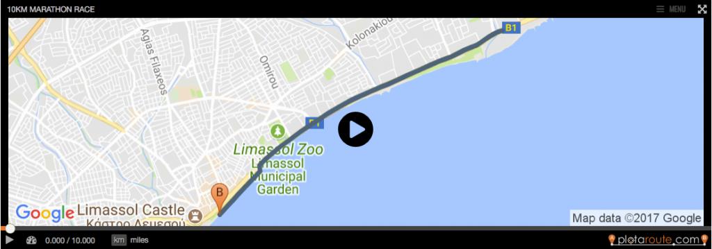 Маршрут забега на 10 км в Лимассоль на Кипре 2018
