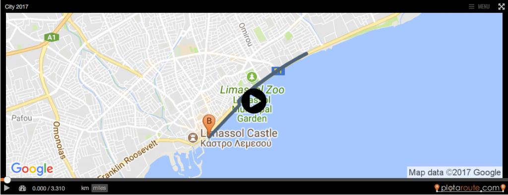 Маршрут забега на дистанцию 5 км в Лимассоль на Кипре 2018