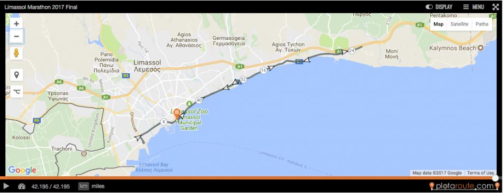 Маршрут марафона в Лимассоль на Кипре 2018