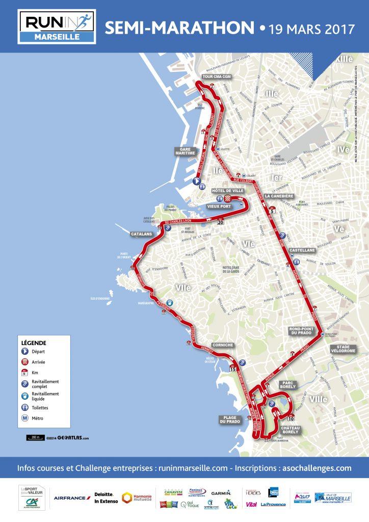 Маршрут забега на полумарафонскую дистанцию в Марселе в рамках Run in Marseille 2017