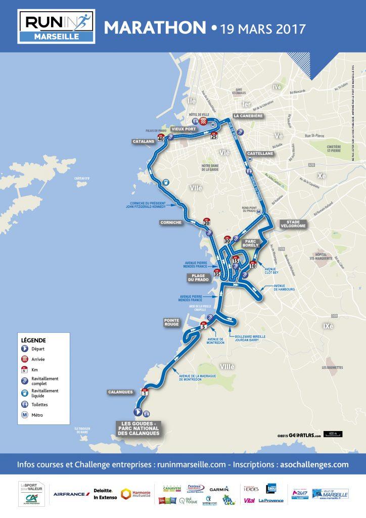 Маршрут забега на марафонскую дистанцию в Марселе в рамках Run in Marseille 2017