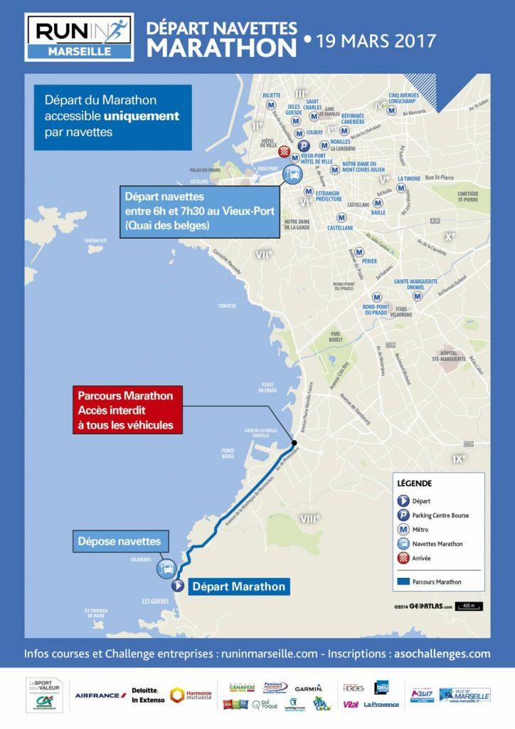 Схема отправления автобусов к месту старта марафона и место перекрытия движения личного автотранспорта