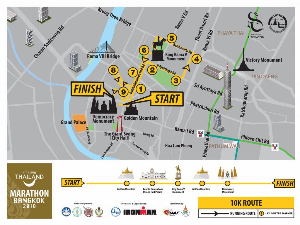 Трасса забега на 10 км в рамках Amazing Thailand Marathon Bangkok 2018
