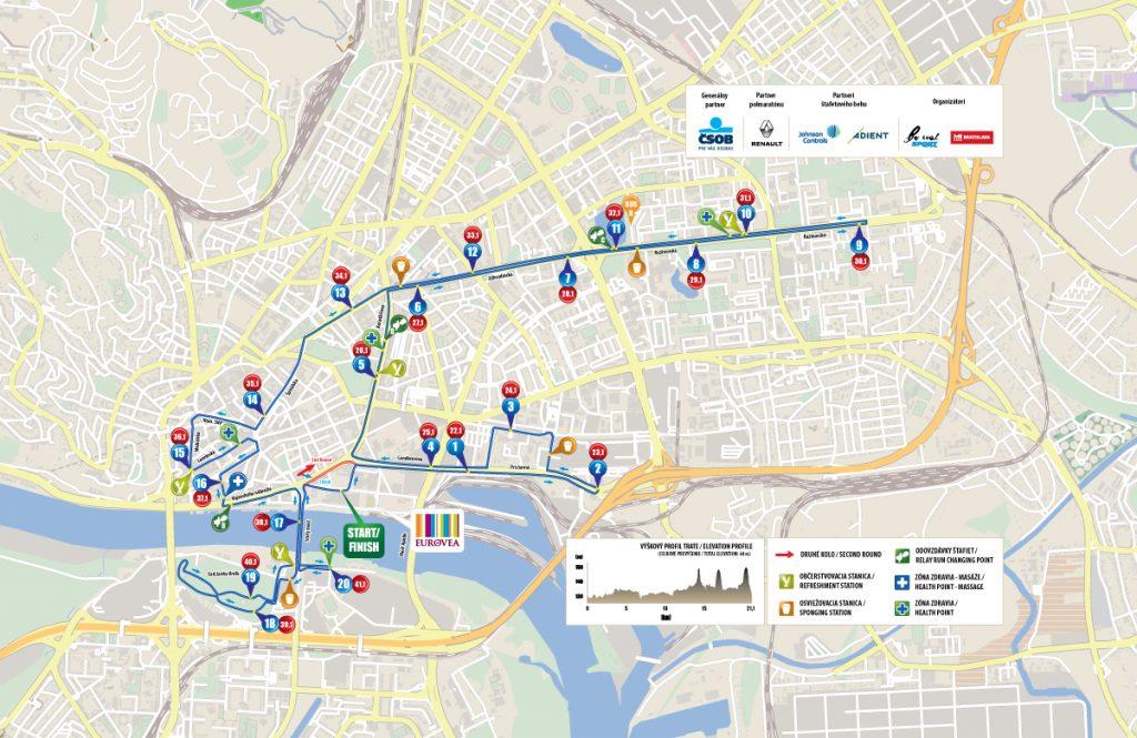 Трасса Братиславского марафона и полумарафона (ČSOB Bratislava Marathon) 2018 с профилем высот