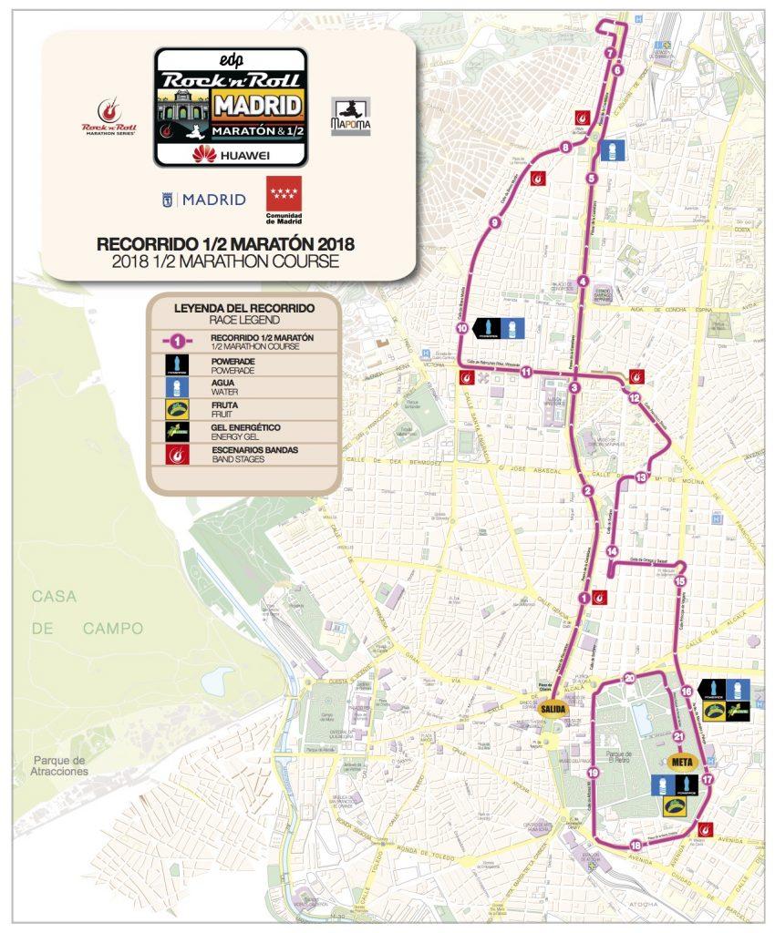Трасса забега на полумарафонскую дистанцию в рамках Rock'n'Roll Madrid Marathon 2018