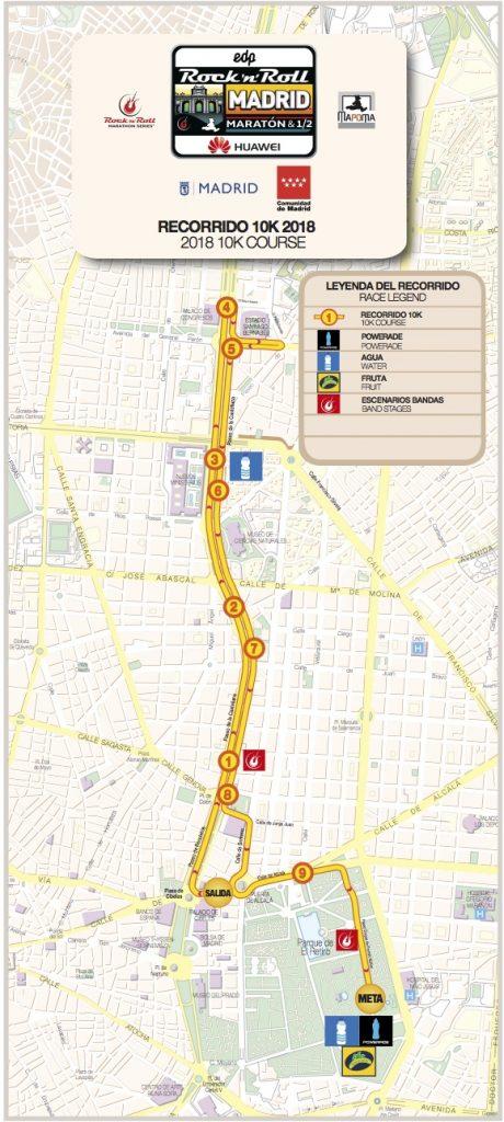 Трасса забега на 10 км дистанцию в рамках Rock'n'Roll Madrid Marathon 2018