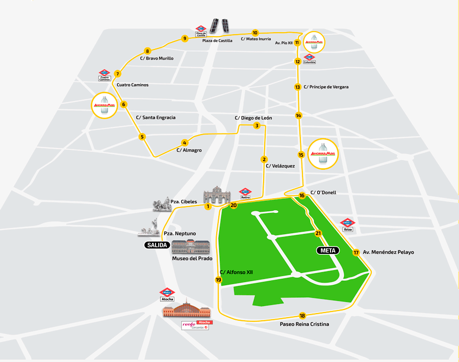 Трасса полумарафона в Мадриде 2018
