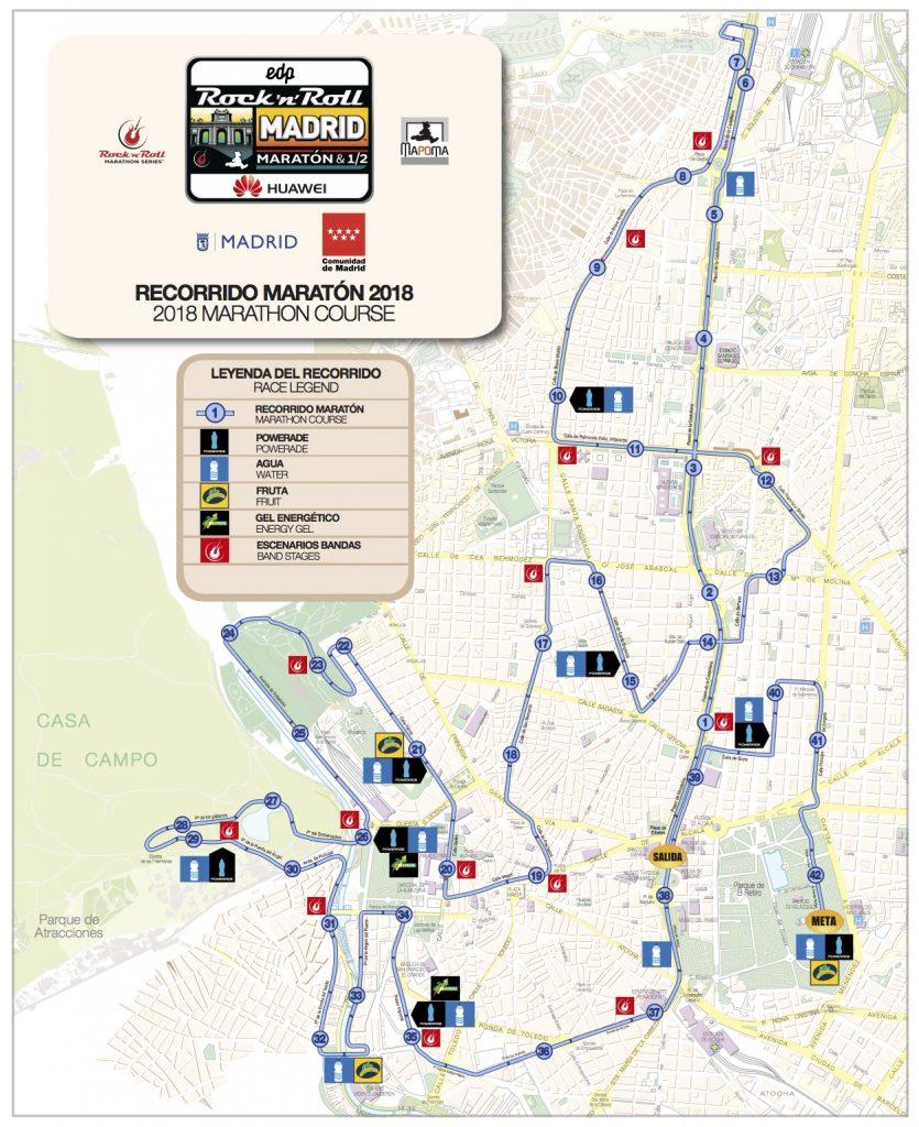 Трасса забега на марафонскую дистанцию в рамках Rock'n'Roll Madrid Marathon 2018