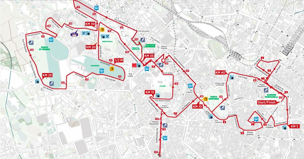 Трасса марафона в Милане 2018
