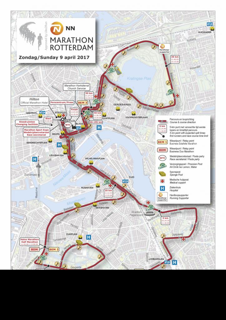 Трасса марафона в Роттердаме 2017