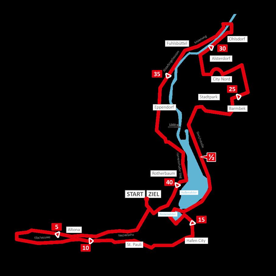 Маршрут марафонского забега в Гамбурге 2018