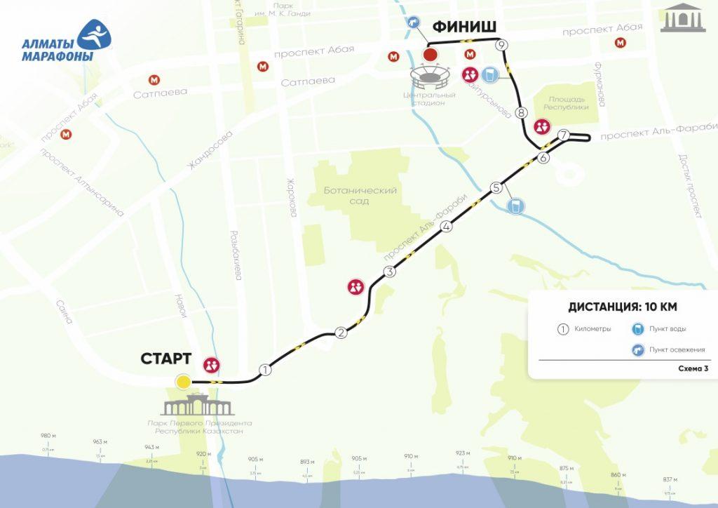 Маршрут 10 км дистанции и профиль высот Алматы марафон 2018