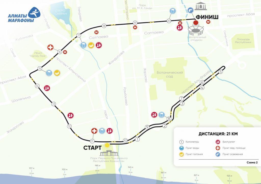 Маршрут полумарафонской дистанции и профиль высот Алматы марафон 2018