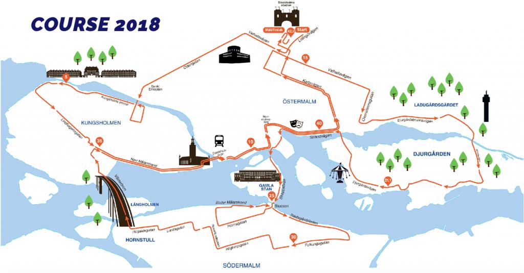 Трасса марафона ASICS Stockholm Marathon 2018 в Стокгольме