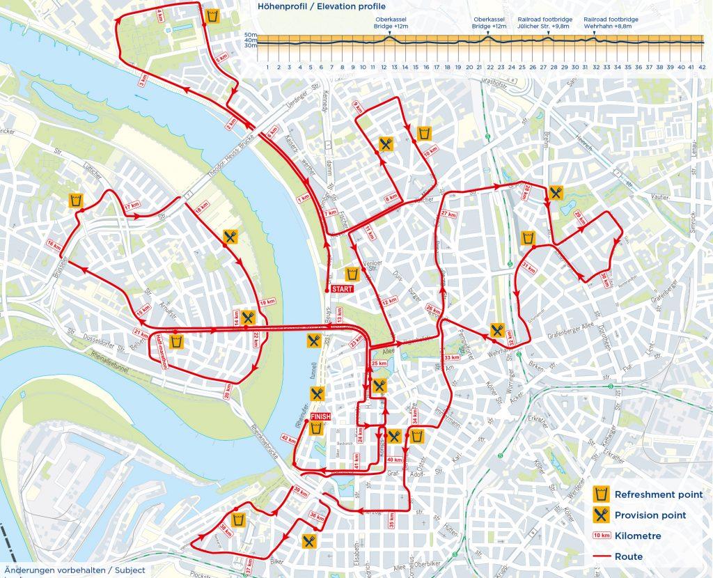 Трасса марафона METRO Düsseldorf Marathon в Дюссельдорфе 2018