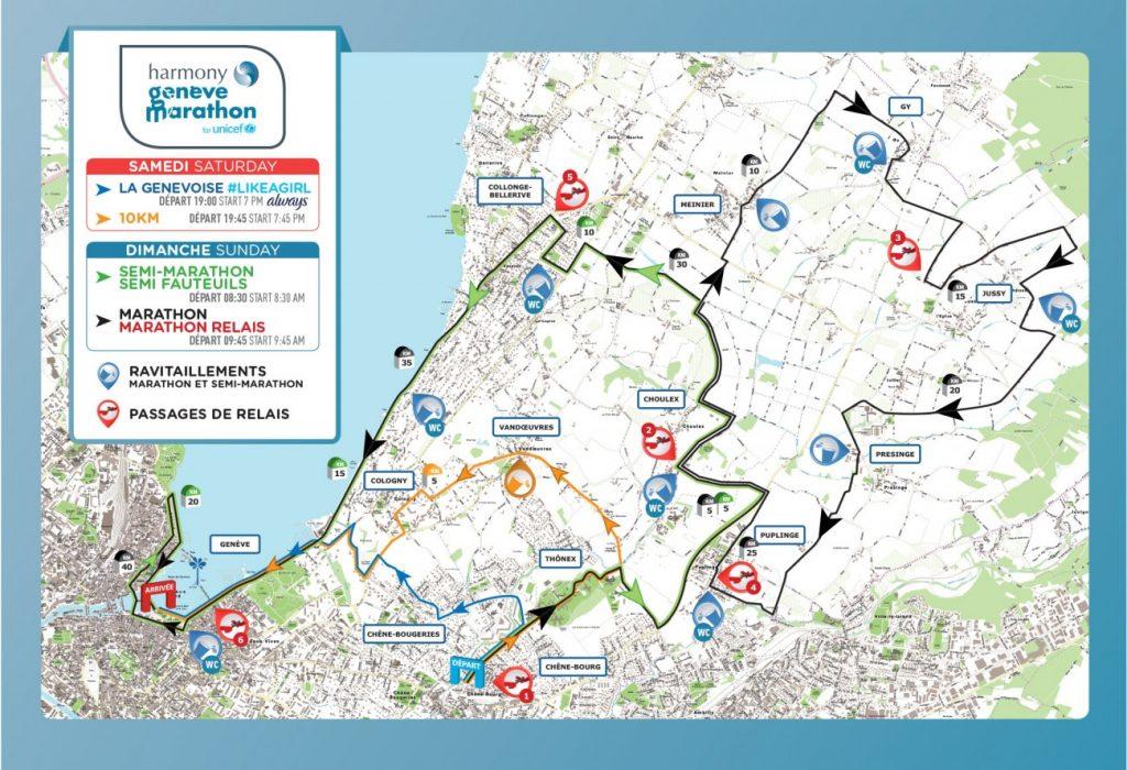 Совмещенная схема всех забегов бегового уикэнда в рамках Женевского марафона 2018