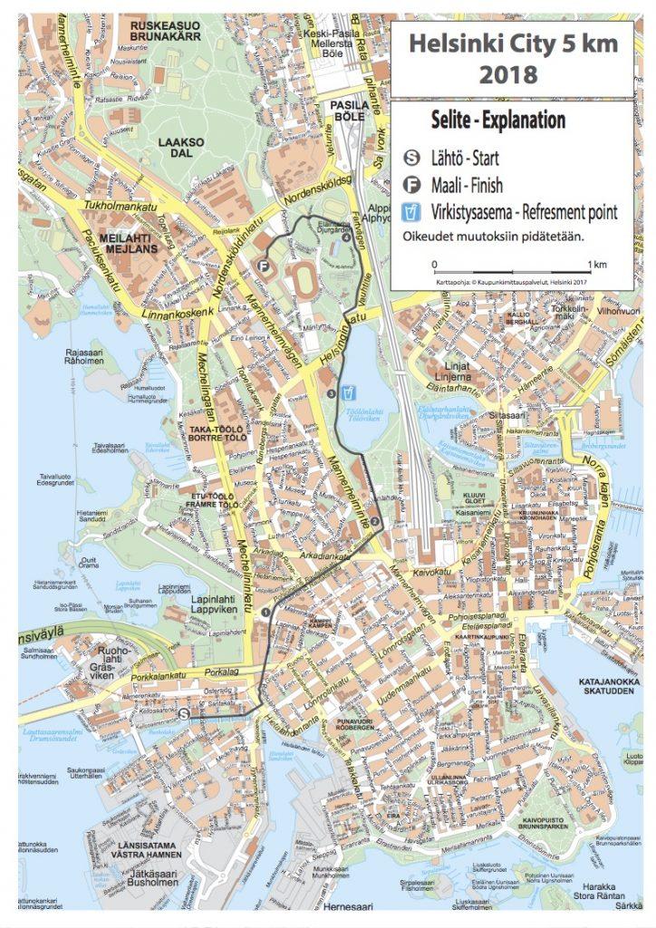 Трасса забега на дистанцию 5 км в Хельсинки 2018