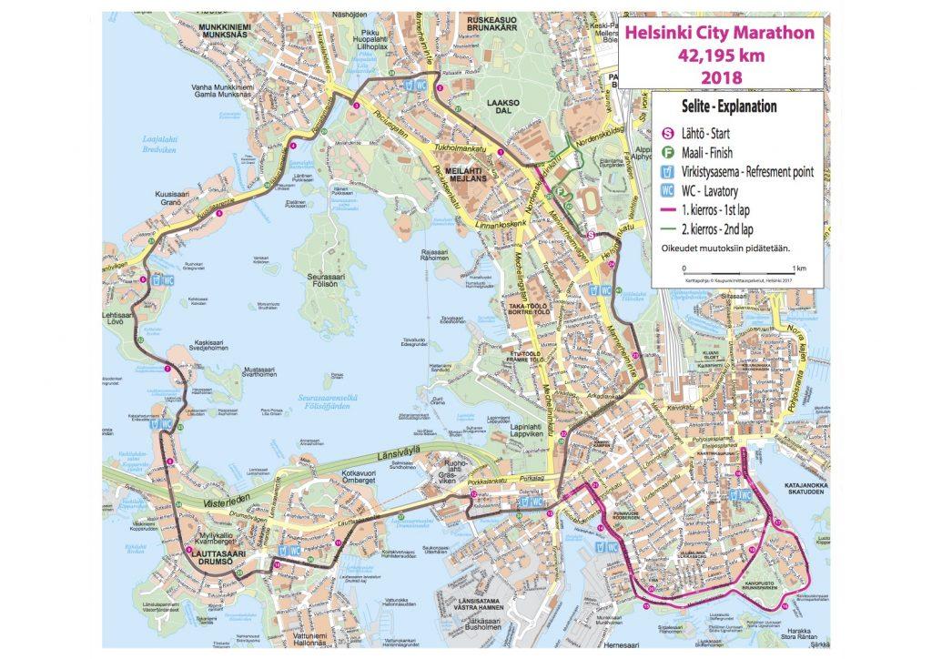 Трасса марафона в Хельсинки 2018
